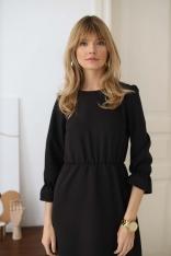 Długa Sukienka z Falbankami - Czarna
