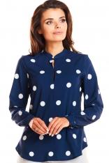 Granatowa Wzorzysta Elegancka Koszulowa Bluzka na Stójce