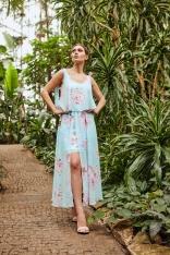 Zwiewna Wzorzysta Sukienka Wiązana na Ramionach - Wzór 18