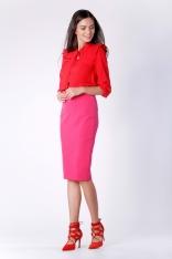 Różowa Ołówkowa Spódnica za Kolano