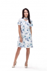 Biało Niebieska Sukienka Wizytowa w Kwiaty z Chockerem