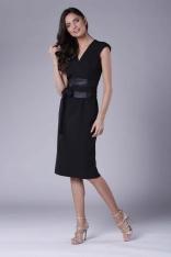 Czarna Elegancka Ołówkowa Sukienka Midi z Zaznaczoną Talią