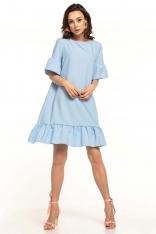 Błękitna Luźna Letnia Sukienka Wykończona Falbankami