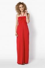 Czerwona Długa Sukienka z Wiązaniem na Szyi