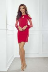 Czerwona Prosta Sukienka z Przezroczystymi Rękawami