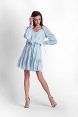 Niebieska Zwiewna Szyfonowa Sukienka w Stylu Boho