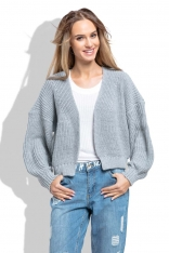 Szary Krótki Sweter bez Zapięcia z Grubszym Splotem