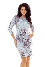 Niebieska Sukienka Ściągana w Paski i Kwiaty