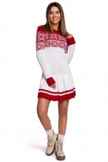 Biała Świąteczna Sukienka Swetrowa z Obniżoną Talią