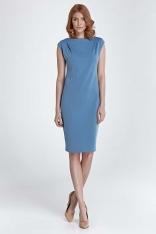Niebieska Sukienka Prosta Klasyczna przed Kolano