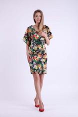 Kwiatowa Ołówkowa Sukienka z Dekoltem na Plecach