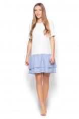 Biało Niebieska Sukienka z Podwójną Wzorzystą Falbanką