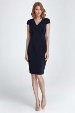 Granatowa Dopasowana Klasyczna Sukienka z Dekoltem V