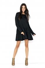 Czarna Dresowa Sukienka z Szerokimi Falbankami na Dole