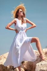 Biała Efektowna Sukienka Maxi z Dekoltem V