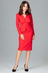Czerwona Wizytowa Sukienka z Asymetryczna Baskinką