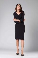 Czarna Elegancka Dopasowana Sukienka z Kołnierzem
