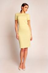 Żółta Elegancka Sukienka przed Kolano z Dekoltem Typu Woda na Plecach