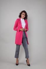 Elegancki Płaszcz na Jeden Guzik - Różowy