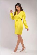 Żółta Dopasowana Połyskująca Sukienka z Dekoltem V