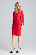 Czerwona Ołówkowa Spódnica z Brokatowym Lampasem