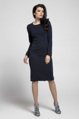 Granatowa Klasyczna Dopasowana Sukienka za Kolano