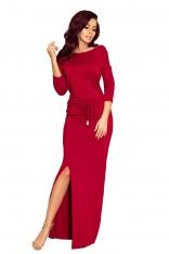 Bordowa Dzianinowa Maxi Sukienka z Rozporkiem