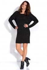 Czarna Sukienka Sweter z Szerokimi Ściągaczami