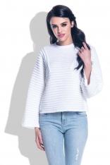 Biały Sweter ze Strukturalnym Splotem z Szerokim Rękawem