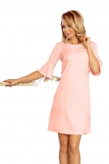 Różowa Trapezowa Sukienka z Rozkloszowanym Rękawem do Łokcia