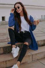 Niezapinany Kardigan z Ażurem - Jeans