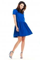 Niebieska Letnia Sukienka z Marszczonym Dołem