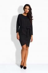 Czarna Sukienka Typu Nietoperz z Zakładanym Dołem