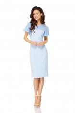 Błękitna Wizytowa Dopasowana Sukienka z Dodatkiem Szyfonu