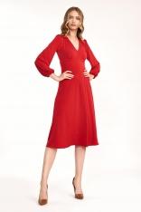 Czerwona Elegancka Midi Sukienka z Bufiastym Rękawem
