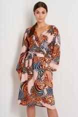 Wzorzysta Kopertowa Sukienka z Długim Rękawem - Wzór 11