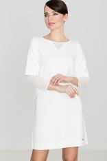 Ecru Wizytowa Sukienka Mini z Transparentnymi Detalami