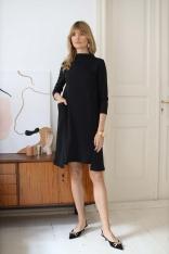 Luźna Sukienka z Kieszeniami - Czarna