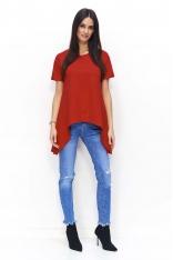 Czerwona Asymetryczna Dzianinowa Bluzka z Rozcięciem z Tyłu
