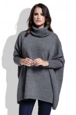 Grafitowy Sweter Ciepły Luźny z Golfem