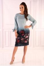 Miętowa Sukienka z Motywem Kwiatów z Wiązanym Mankietem