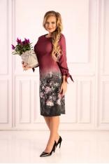 Śliwkowa Sukienka z Motywem Kwiatów z Wiązanym Mankietem