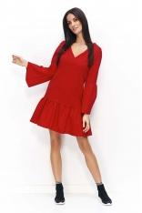 Czerwona Sukienka z Falbanką na Dole i Poszerzonymi Rękawami