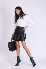 Czarna Mini Spódnica z Nakładką i Paskiem
