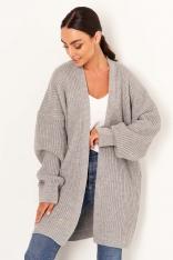 Sweter Typu Kardigan bez Zapięcia - Szary