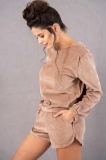 Uniwersalna Welurowa Bluza - Beżowe