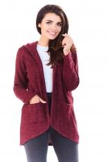 Bordowy Sweter Asymetryczny bez Zapięcia z Kapturem