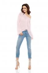 Asymetryczny Lekki Sweter z Dekoltem V - Pudrowy