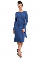 Niebieska Sukienka Elegancka z Asymetryczną Nakładką