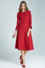 Czerwona Elegancka Sukienka z Dekoltem na Plecach
